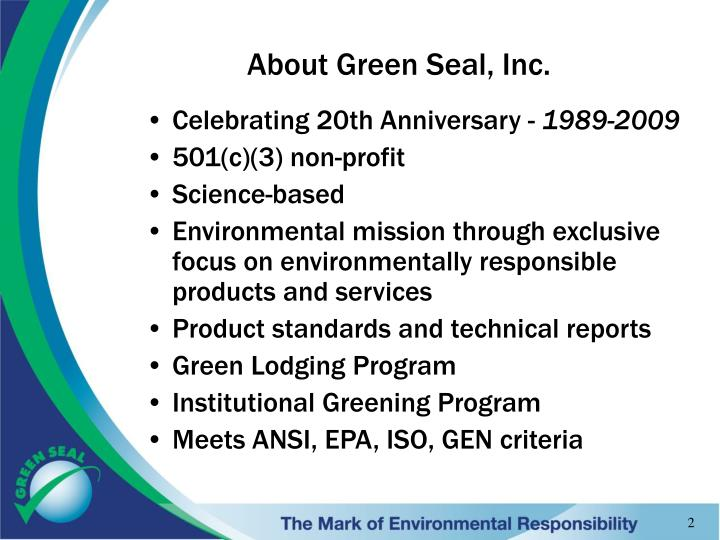 About Green Seal, Inc.