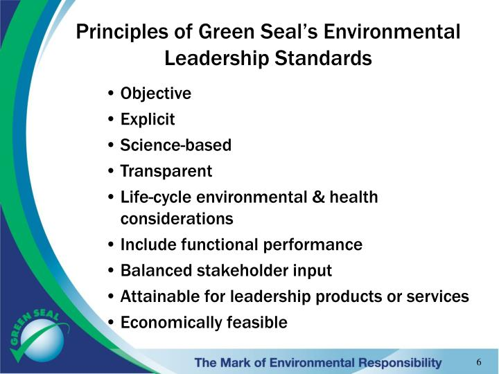 Principles of Green Seal's Environmental Leadership Standards
