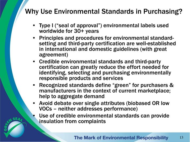 Why Use Environmental Standards in Purchasing?
