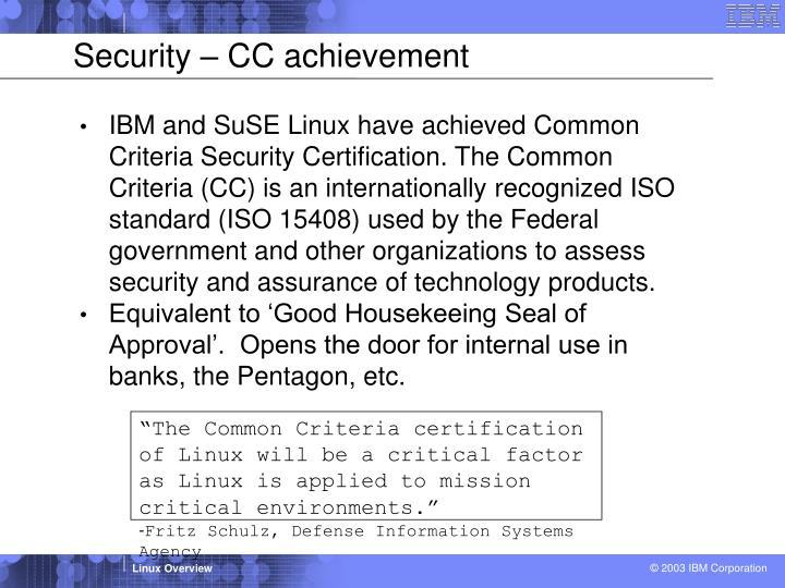 Security – CC achievement