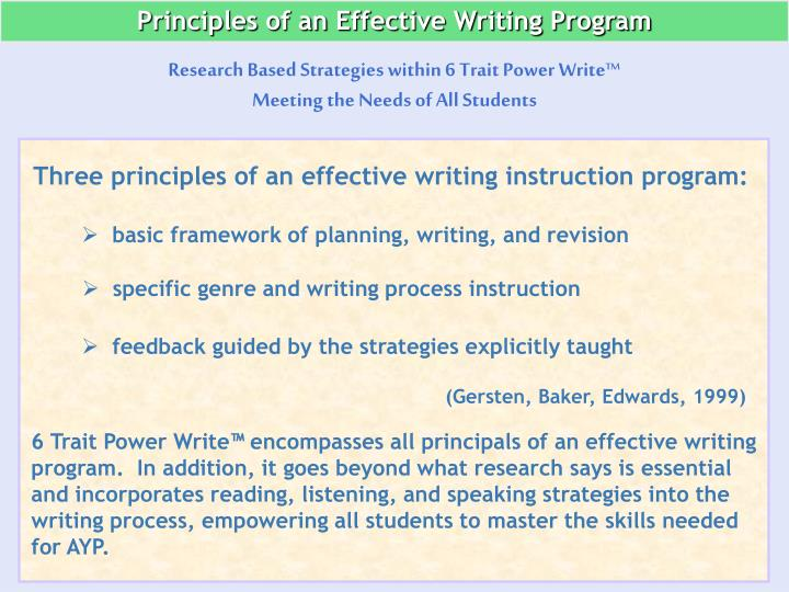 Principles of an Effective Writing Program