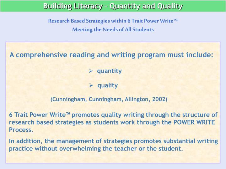 Building Literacy – Quantity and Quality