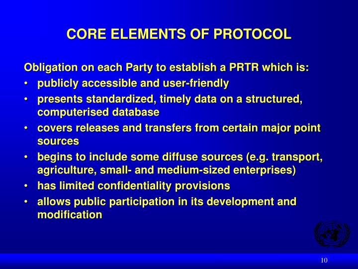 CORE ELEMENTS OF PROTOCOL