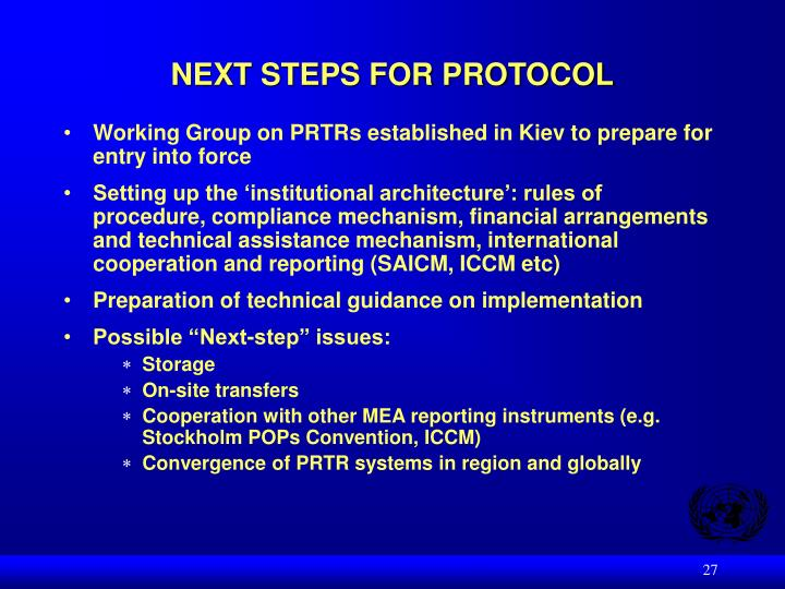 NEXT STEPS FOR PROTOCOL