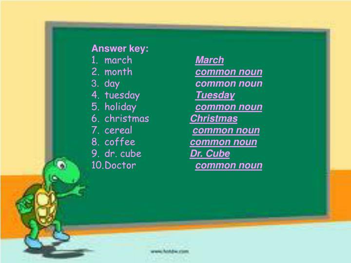 Answer key: