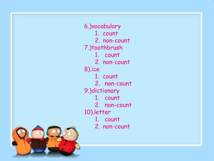 6.)vocabulary
