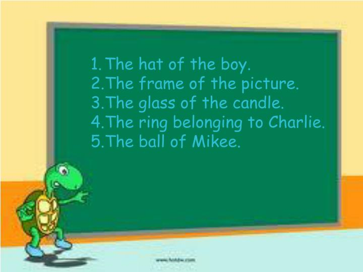 The hat of the boy.