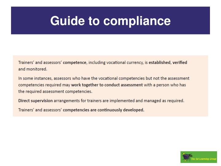 Guide to compliance