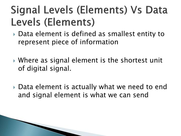 Signal Levels (Elements) Vs Data Levels (Elements)