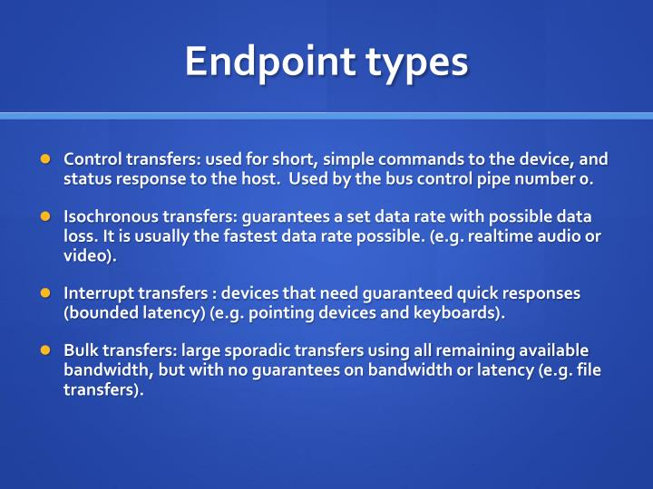Endpoint types