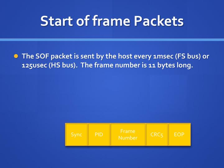 Start of frame Packets