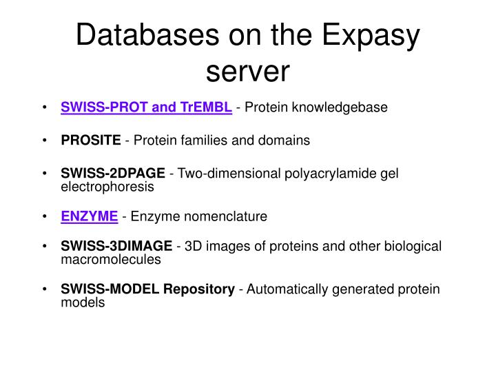 Databases on the Expasy server