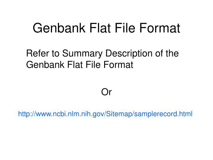 Genbank Flat File Format