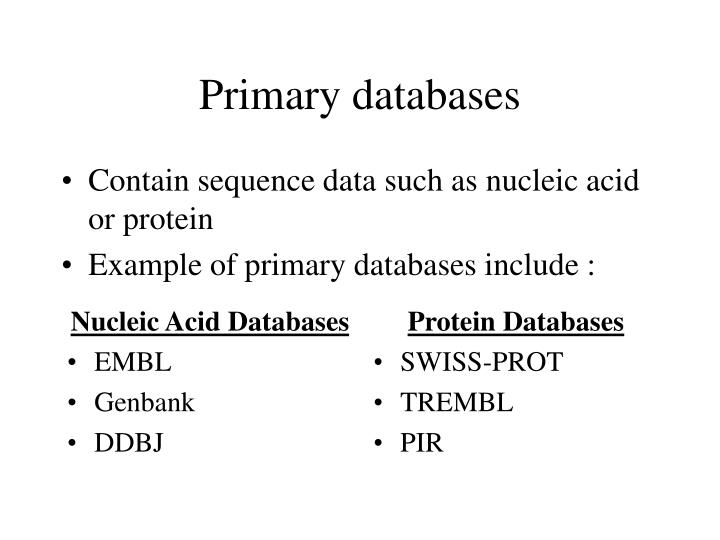Primary databases