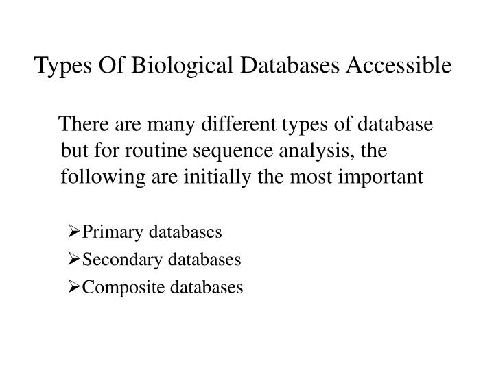 Types Of Biological Databases Accessible