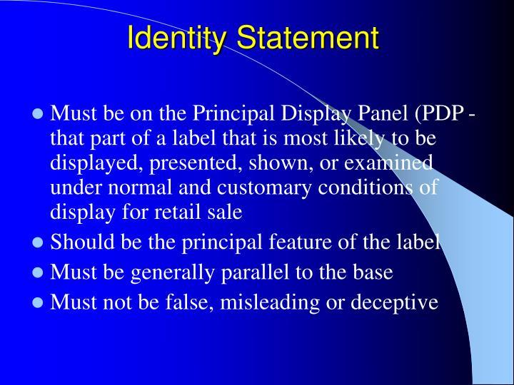 Identity Statement