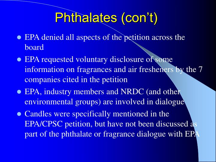 Phthalates (con't)