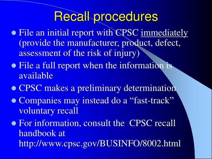 Recall procedures
