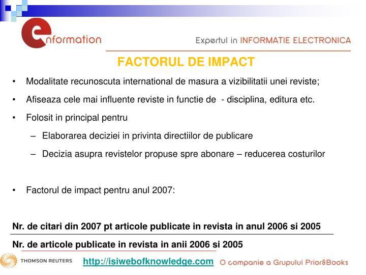 FACTORUL DE IMPACT