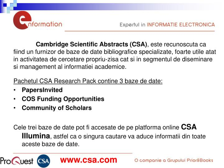 Cambridge Scientific Abstracts (CSA)