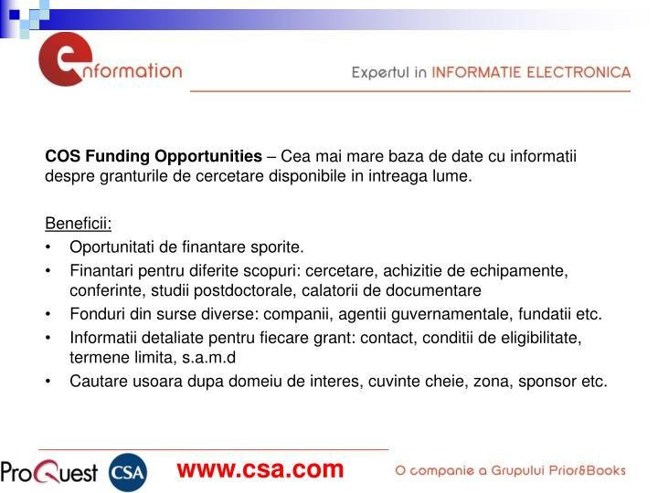 COS Funding Opportunities