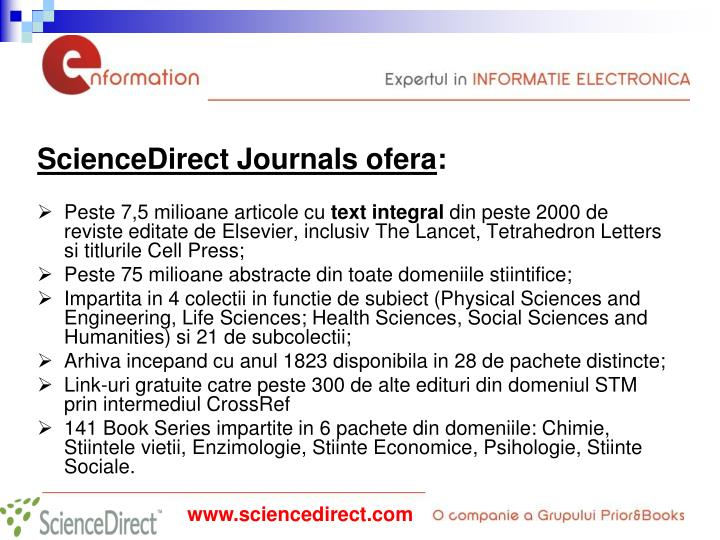 ScienceDirect Journals ofera