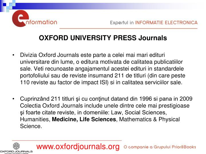OXFORD UNIVERSITY PRESS Journals