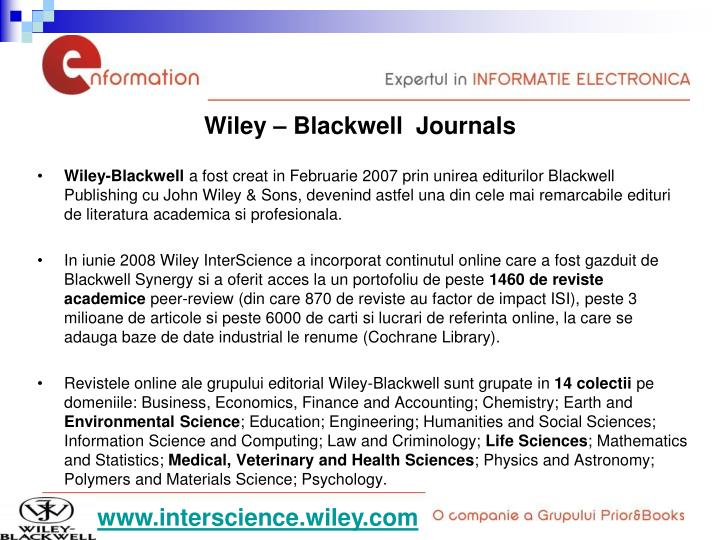 Wiley – Blackwell  Journals