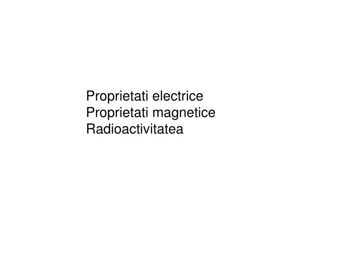 Proprietati electrice