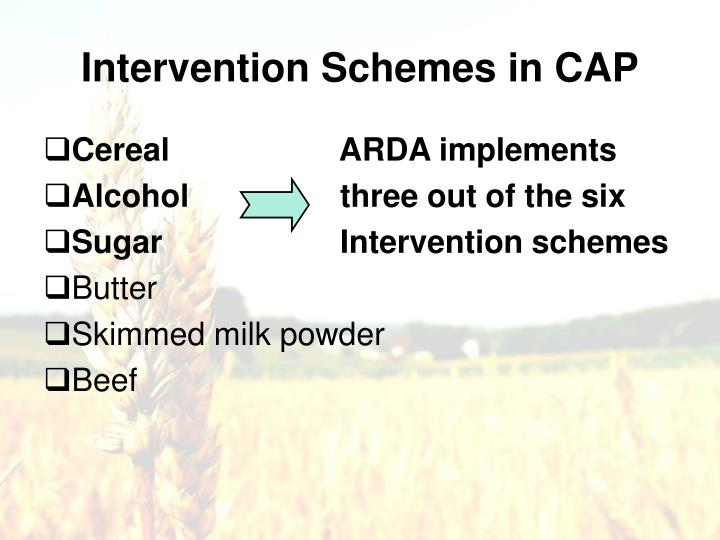 Intervention Schemes in CAP