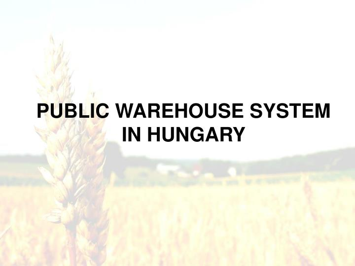 PUBLIC WAREHOUSE SYSTEM IN HUNGARY