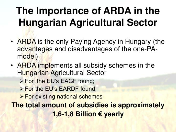 The Importance of ARDA in the Hungarian Agricultural Sector