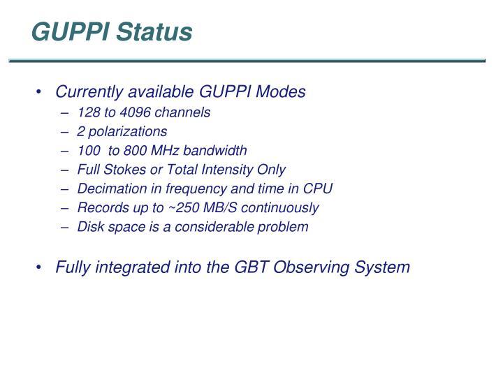 GUPPI Status