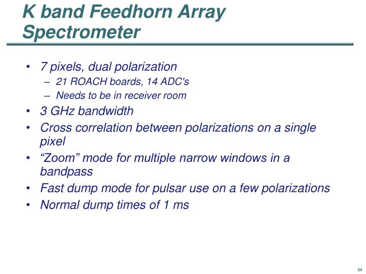 K band Feedhorn Array Spectrometer