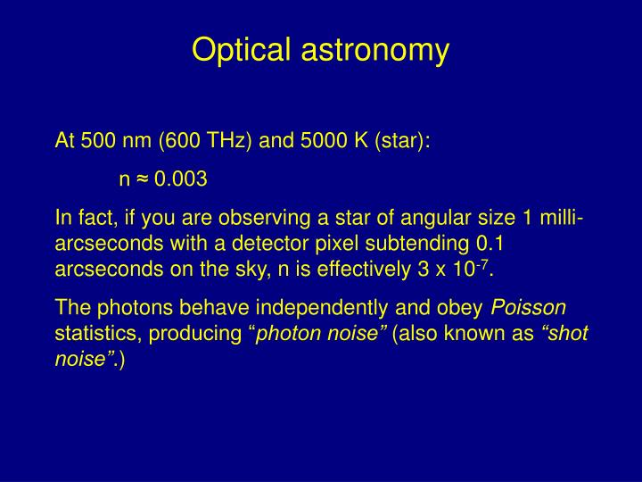 Optical astronomy