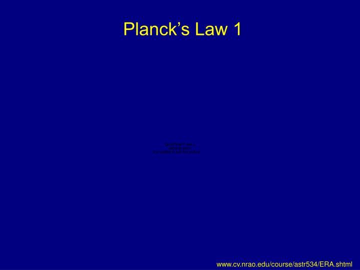 Planck's Law 1