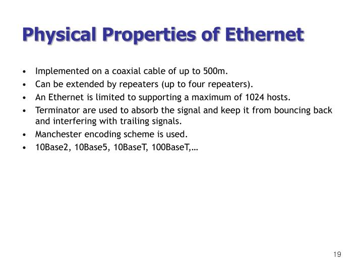 Physical Properties of Ethernet