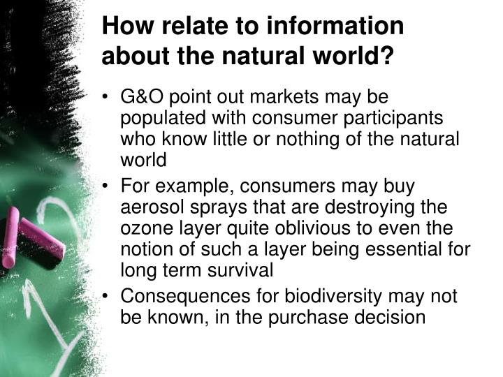 How relate to information about the natural world?