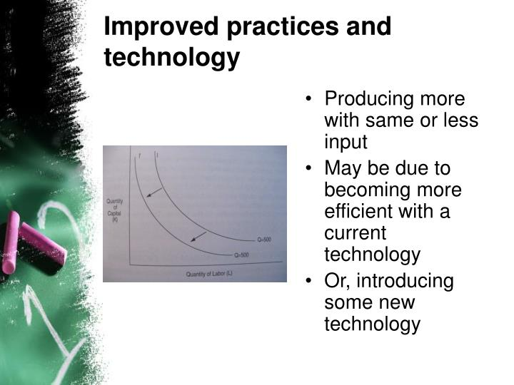 Improved practices and technology