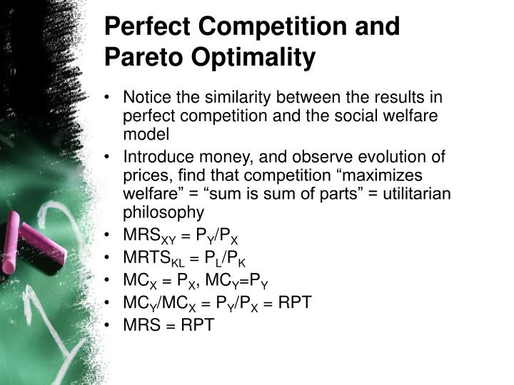 Perfect Competition and Pareto Optimality