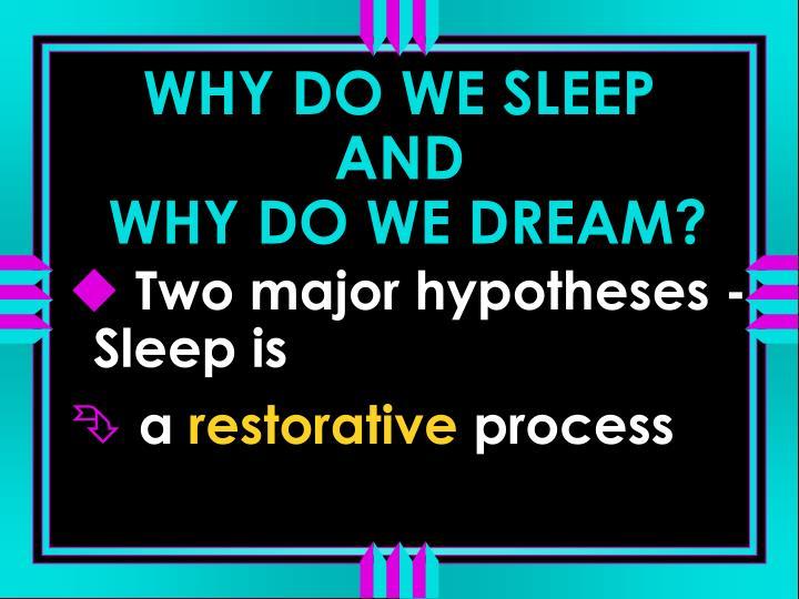 WHY DO WE SLEEP AND