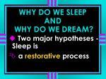 why do we sleep and why do we dream