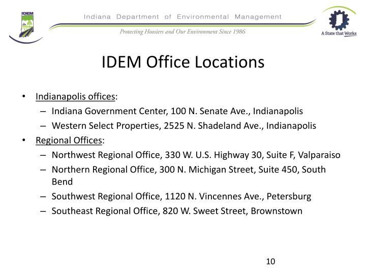 IDEM Office Locations