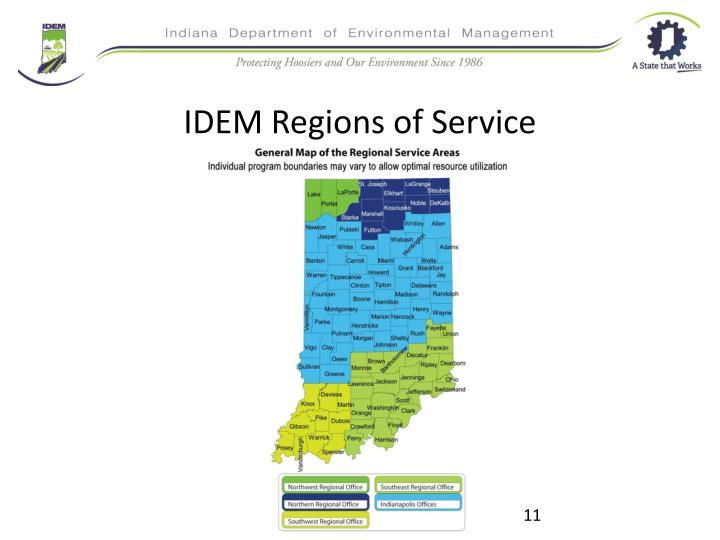 IDEM Regions of Service