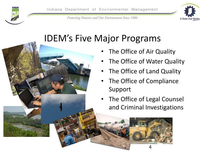 IDEM's Five Major Programs