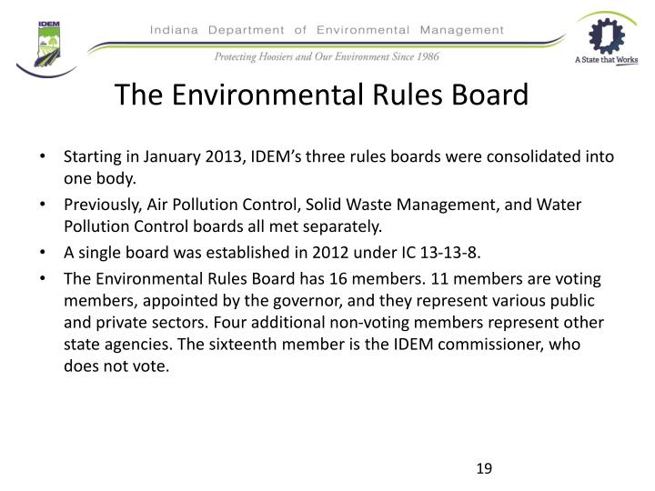 The Environmental Rules Board
