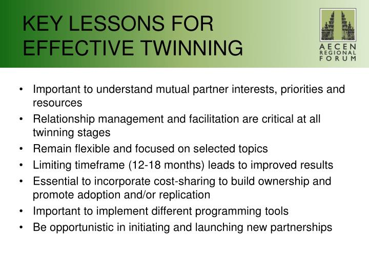 KEY LESSONS FOR EFFECTIVE TWINNING