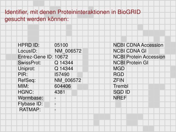Identifier, mit denen Proteininteraktionen in BioGRID gesucht werden können: