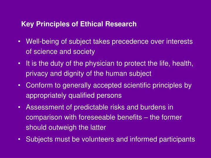 Key Principles of Ethical Research
