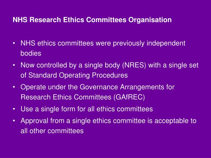NHS Research Ethics Committees Organisation